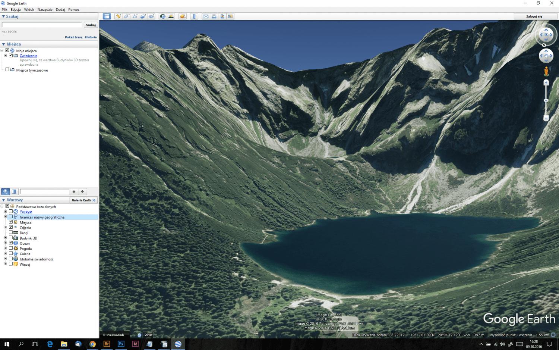 Rzut oka na Morskie Oko w programie Google Earth