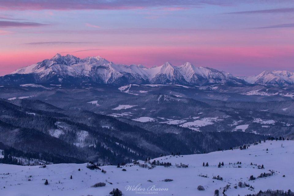 Pienny Zima widok z Wysokiego Wierchu