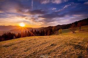 Zachod słońca w Łomnicy - Beskid Sadecki