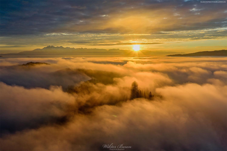 Zachód słońca na Koziarzu