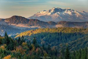 Widok z Przełęczy Gromadzkiej na Tatry